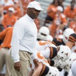 Charlie Strong at the UT Spring game. (Will Gallagher/IT)