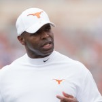 Charlie Strong at the Spring Game. (Will Gallagher/IT)