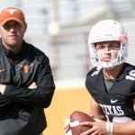 Texas OC Sterlin Gilbert watching QB Shane Buechele. (Will Gallagher/IT)
