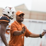 Texas DB coach Chris Vaughn. (Will Gallagher/IT)