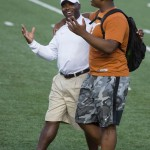 Charlie Strong and Jordan Elliott at UTL. (Will Gallagher/IT)