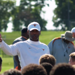 Charlie Strong at Texas Satellite Camp in Addison. (Justin Wells/IT)