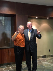 David Pierce and Mike Perrin pose during the new baseball coach's PC. (Joe Cook/IT)