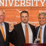 Mike Perrin and Greg Fenves introduce Tom Herman (Will Gallagher/IT)