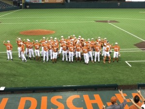 Texas Baseball singing The Eyes of Texas after defeating Lamar (Joe Cook/IT)