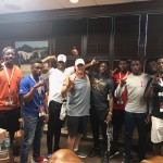 Byron Hobbs, JaQualyn Crawford, Leon O'Neal, Al'Vonte Woodard, Jalen Green, Keondre Coburn, and BJ Foster with Texas coach Tom Herman. (h/t Crawford)