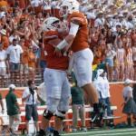 Shane Buechele celebrates Texas touchdown. (Will Gallagher/IT)