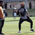 Kelee Ringo and Bryan Carrington at UT's pracrice. (Will Gallagher/IT)