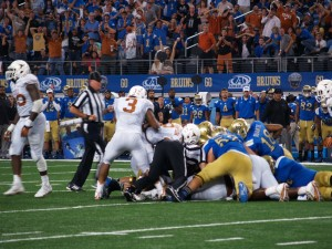 The fumble at Texas-UCLA. (Justin Wells/IT)