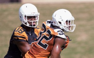 Swoopes and Gray during Spring practice. (Will Gallagher/IT)