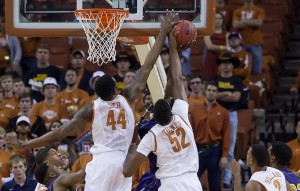 Prine Ibeh and Myles Turner share a blocked shot. (Will Gallagher/IT)