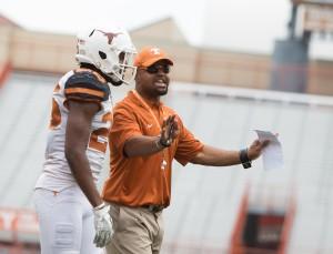 Texas DB coach Chris Vaughn. (Will Gallagher/IT)