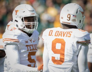 Holton Hill and Davante Davis during the win in Waco. (Will Gallagher/IT)