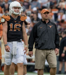 Shane Buechele and Sterlin Gilbert at the Spring game. (Will Gallagher/IT)