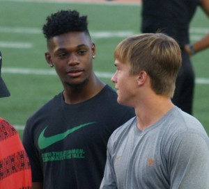 Baron Browning and Sam Ehlinger hang out at DKR. (Justin Wells/T)