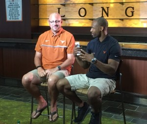 Jeff Traylor with Michael Huff during UT's Media Day. (Justin Wells/IT)