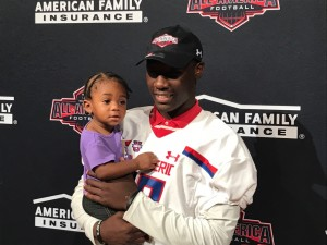 DeMarvion Overshown with his niece at the US All American ceremony. (Justin Wells/IT)