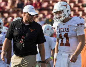 Tom Herman and Sam Ehlinger (Will Gallagher/IT)