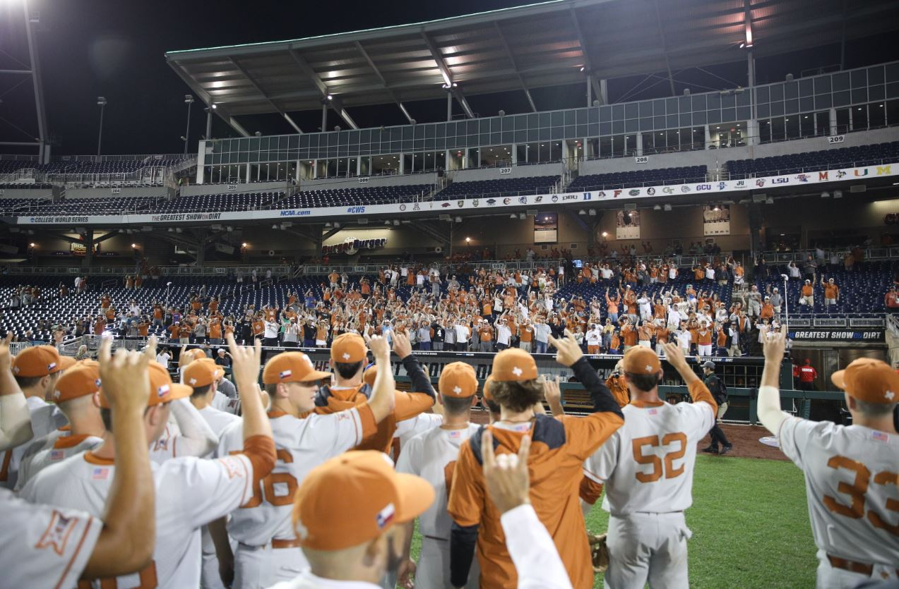 Texas after defeating Mississippi State 5-3 (Courtesy of the NCAA)